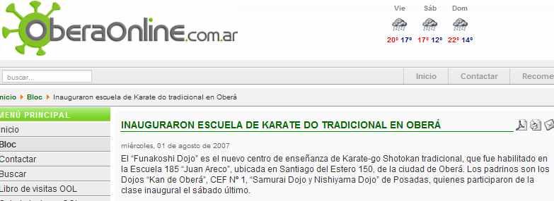 """Nació """"Funakoshi Dojo"""" de karate Shotokan Tradicional en la ciudad de Obera"""